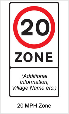 UK Road Sign 20 mph Zone