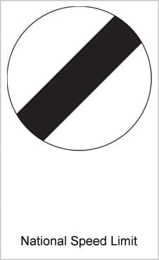 UK Road Sign National Speed Limit