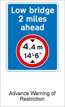 UK Road Signs Advance Warning Of Restriction