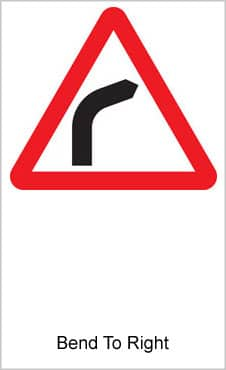UK Road Signs Bend To Right