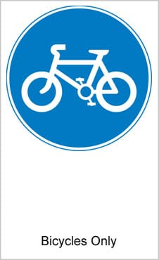 UK Road Signs Bicycles Only