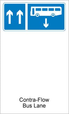 UK Road Signs Contra Flow Bus Lane