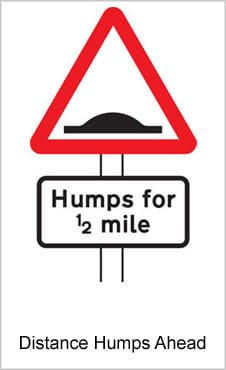 UK Road Signs Distance Humps Ahead