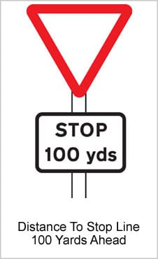 UK Road Signs Distance To Stop Line 100 Yards Ahead
