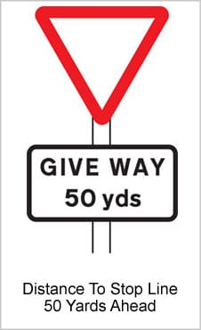 UK Road Signs Distance To Stop Line 50 Yards Ahead