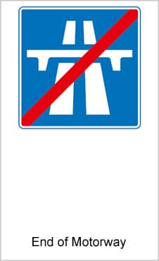 UK Road Signs End Of Motorway