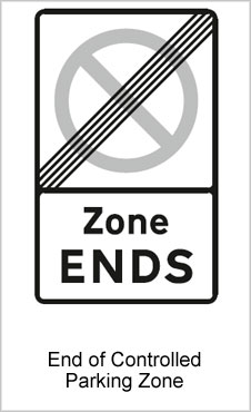 UK Road Signs End of Controlled Parking Zone