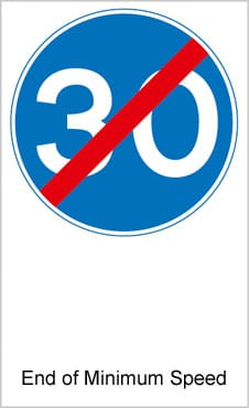 UK Road Signs End of Minimum Speed