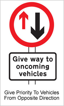 UK Road Sign For Give Way To Oncoming Traffic