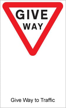 UK Road Sign For Give Way To Traffic On Major Road