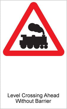 UK Road Signs Level Crossing Ahead Without Barrier