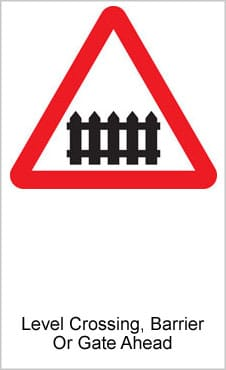 UK Road Signs Level Crossing Barrier Or Gate Ahead