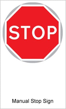 UK Road Sign For Manually Operated Stop Sign