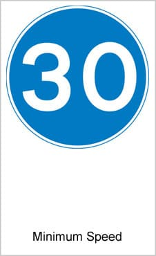 UK Road Signs Minimum Speed
