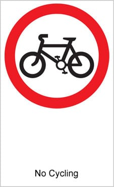 UK Road Sign For No Bicycles Permitted