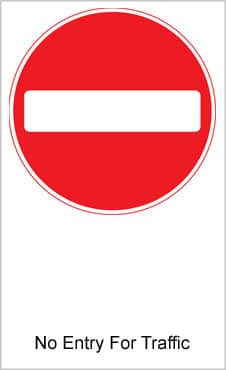 UK Road Sign For No Entry For Traffic