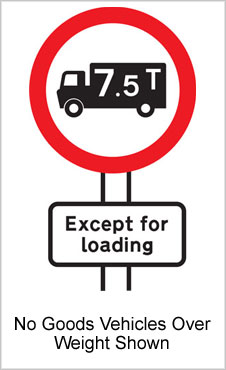 UK Road Sign For No Goods Vehicles Over Maximum Gross Weight Shown