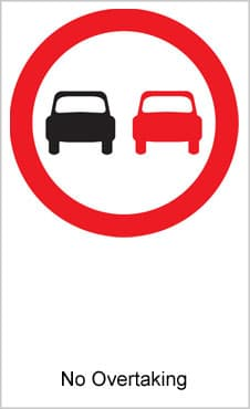 UK Road Sign For No Overtaking