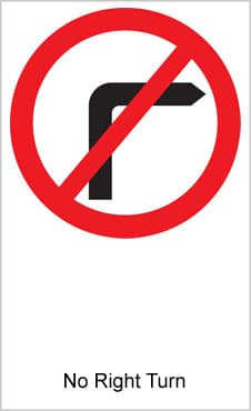 UK Road Sign For No Right Turn
