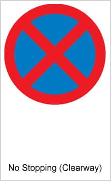 UK Road Signs No Stopping Clearway