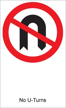 UK Road Sign For No U-Turns