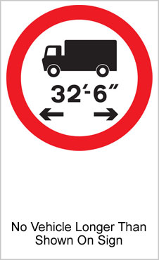 UK Road Sign For No Vehicle Longer Than Shown On Sign