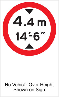 UK Road Sign For No Vehicle Taller Than Shown On Sign