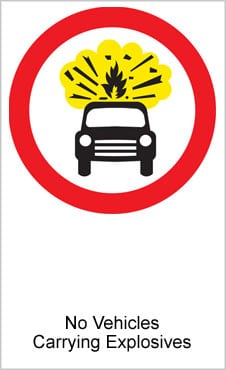 UK Road Sign For No Vehicles Carrying Explosives