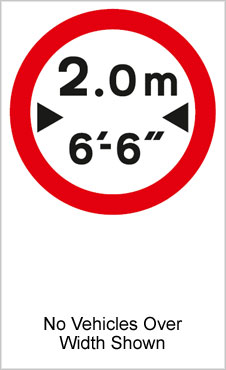 UK Road Signs No Vehicles Over Width Shown