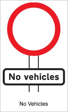 UK Road Sign For No Vehicles Pushed Bikes Only