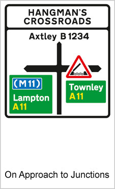 UK Road Signs On Approaches To Junctions a