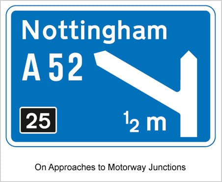 UK Road Signs On Approaches to Motorway Junctions