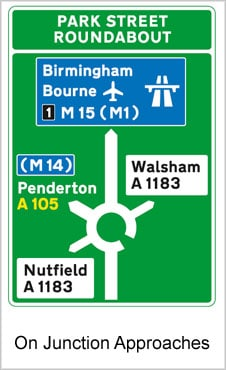 UK Road Signs On Junction Approaches