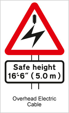 UK Road Signs Overhead Electric Cable
