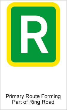 UK Road Signs Primary Route Forming Part Of Ring Road a