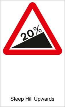 UK Road Signs Steep Hill Upwards