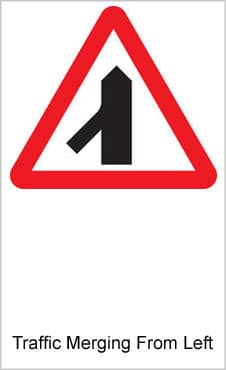UK Road Signs Traffic Merging From Left
