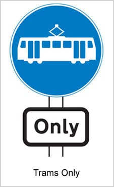 UK Road Signs Trams Only