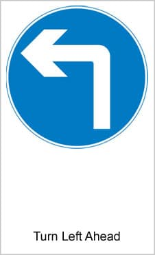 UK Road Signs Turn Left Ahead