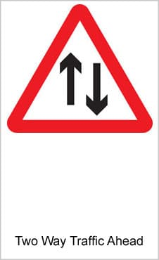 UK Road Signs Two Way Traffic Ahead