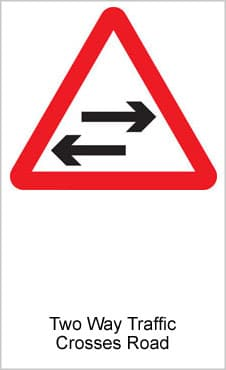 UK Road Signs Two Way Traffic Crosses Road