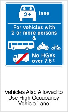 UK Road Signs Vehicles Also Allowed to Use HOV Lane