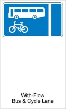 UK Road Signs With Flow Bus And Cycle Lane
