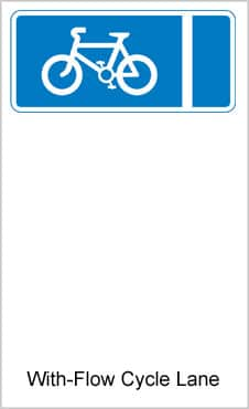 UK Road Signs With Flow Cycle Lane