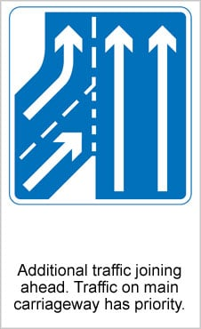 UK Road Signs Additional Traffic Joining Ahead