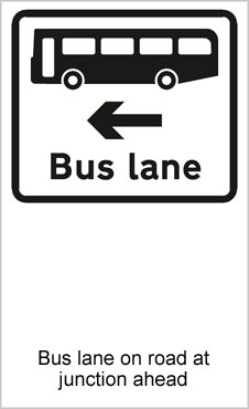 UK Road Signs Bus Lane on Road at Junction