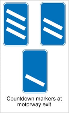 UK Road Signs Countdown Markers at Motorway Exit