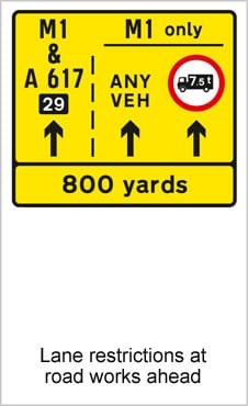 UK Road Signs Lane Restrictions at Roadworks Ahead