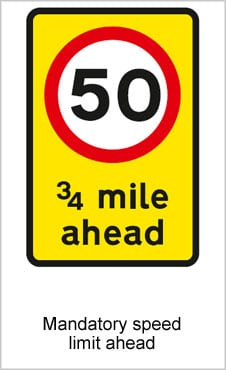 UK Road Signs  Mandatory Speed Limit Ahead