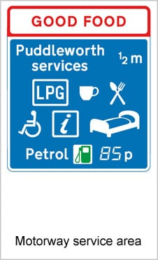 UK Road Signs Motorway Service Area
